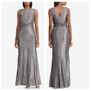 12 L Lauren Ralph gray SILVER Metallic Gown DRESS